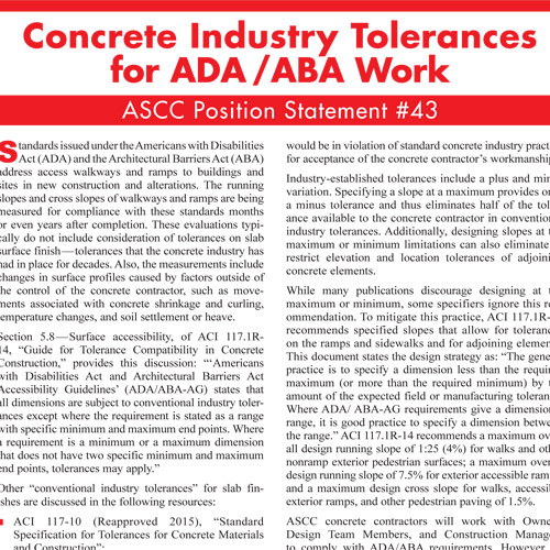 Concrete Industry Tolerances for ADA and ABA Work