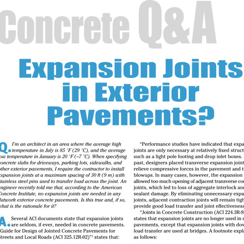 Expansion Joints in Exterior Pavements