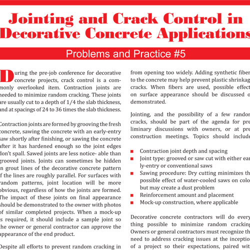Jointing and Crack Control In Decorative Concrete Applications
