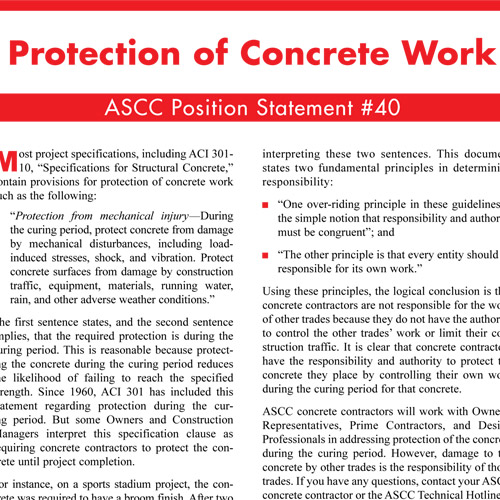Protection of Concrete Work